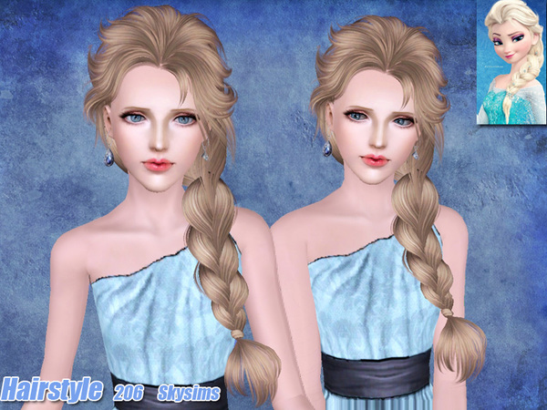 Fanciful tail hairstyle 206 by Skysims for Sims 3