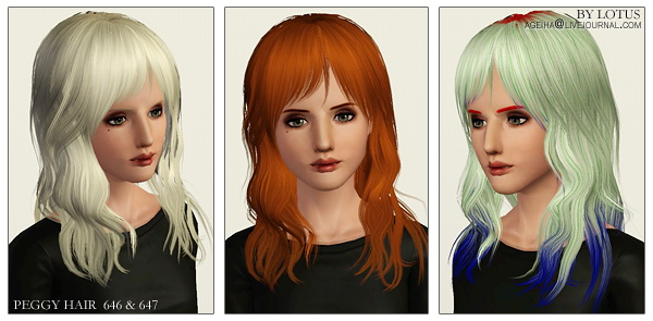 Hairstyles retextured by Lotus for Sims 3