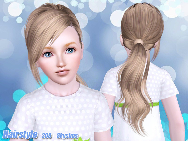 Ponytail with bangs hairstyle 208 by Skysims for Sims 3