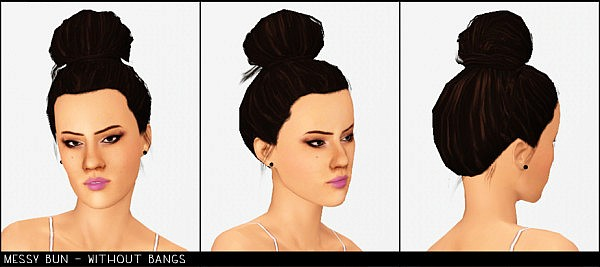 Messy bun hairstyle by Modish Kitten for Sims 3