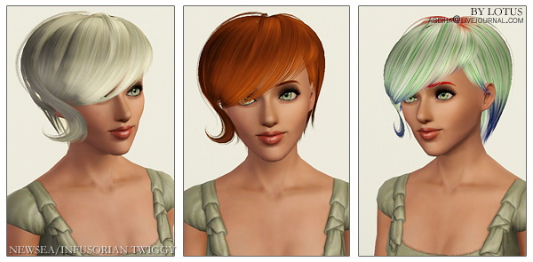 New hairstyles retextured  by Lotus for Sims 3