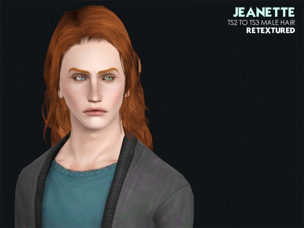 Jeanette hairstyle conversions for him by Astraea for Sims 3