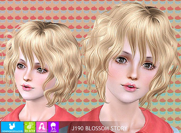 Wavy bob J190 Blossom Story hairstyle by Newsea for Sims 3
