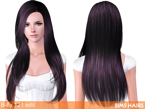 B fly Sims 121 AF hairstyle retextured by Sims Hairs for Sims 3