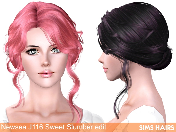 Newsea's J116 Sweet Slumber hairstyle retexture by Sims Hairs for Sims 3