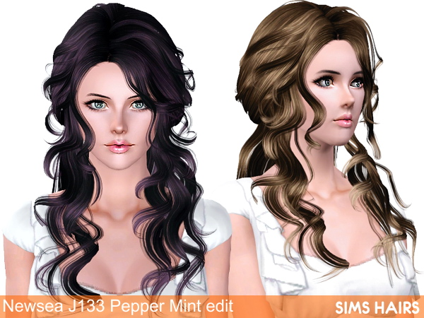 Newsea's J133 Pepper Mint hairstyle retextured by Sims Hairs for Sims 3