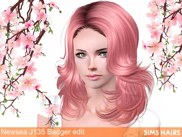 Newsea's J135 Badger romantic hairstyle natural edit by Sims Hairs for Sims 3