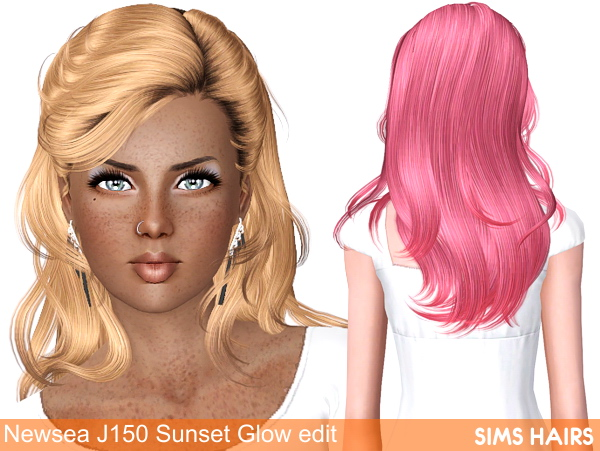 Newsea's J150 Sunset Glow hairstyle retextured by Sims Hairs for Sims 3