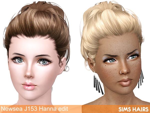 Newsea's J153 Hanna hairstyle retextured by Sims Hairs for Sims 3