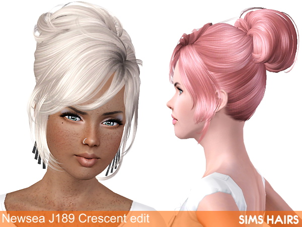 Newsea's J189 Crescent hairstyle retextured by Sims Hairs for Sims 3