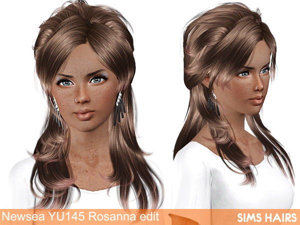 Newsea's YU 145 Rosanna AF retexture by Sims Hairs for Sims 3