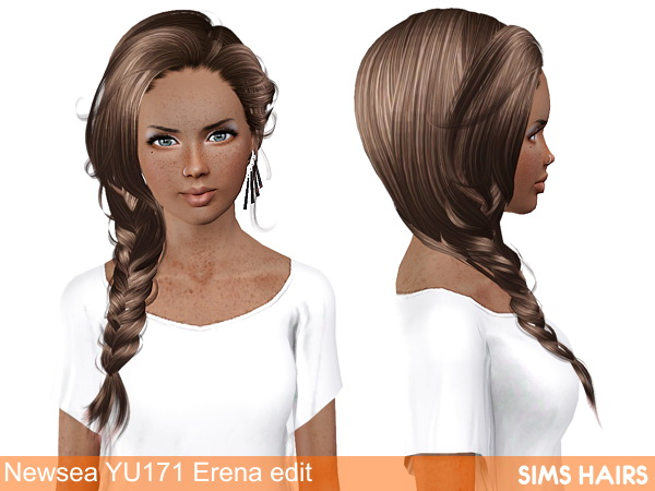 Newsea's YU171 Erena hairstyle AF retextured by Sims Hairs for Sims 3