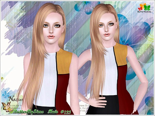 Shiny Hairstyle 125 by Butterfly for Sims 3