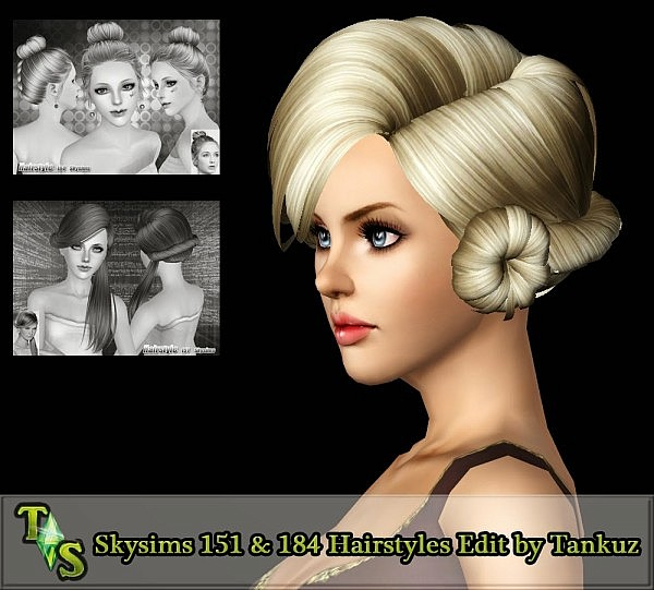 Skysims 151 and 184 Hairstyles Edit by Tankuz for Sims 3