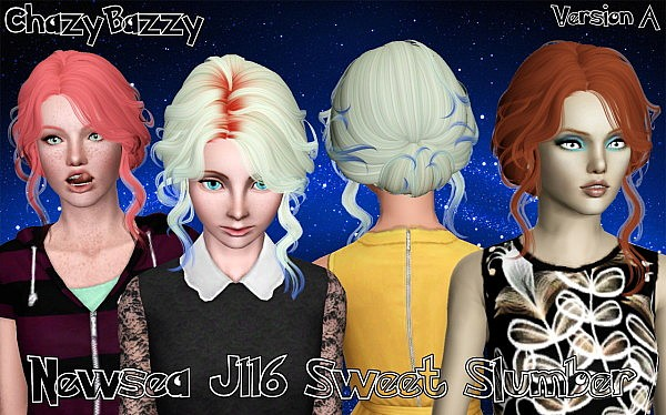 Newsea's Sweet Slumber hairstyle retextured by Cazy Bazzy for Sims 3