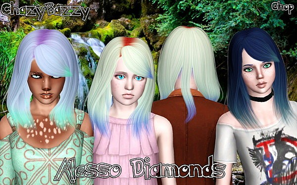 Alesso`s Diamonds hairstyle retextured by Chazy Bazzy for Sims 3