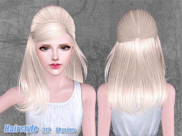 Retro half up do hairstyle 212 by Skysims for Sims 3