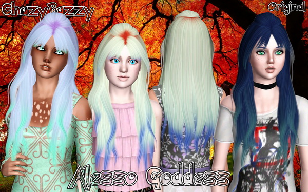 Alesso`s Goddess hairstyle retextured by Chazy Bazzy for Sims 3