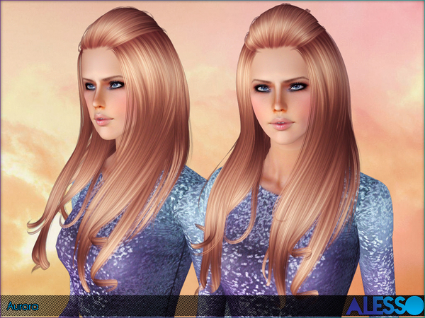 Aurora hairstyle by Alesso for Sims 3
