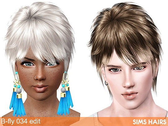B-fly 034 hairstyle females enabled with mesh edit and retexture