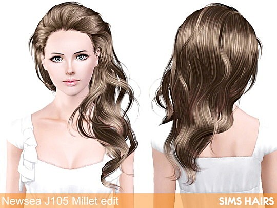 Newsea's J105 Millet hairstyle retexture by Sims Hairs