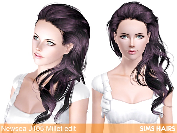 Newsea's J105 Millet hairstyle retexture by Sims Hairs for Sims 3