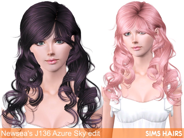 Newsea's J136 Azure Sky AF retexture by Sims Hairs for Sims 3