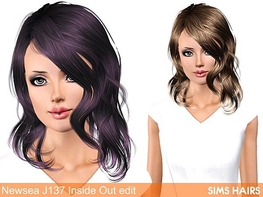 Newsea's J137 Inside Out hairstyle retexture by Sims Hairs