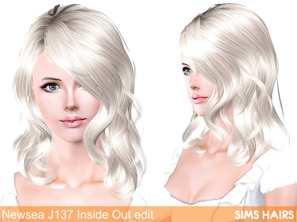 Newsea's J137 Inside Out hairstyle retexture by Sims Hairs for Sims 3