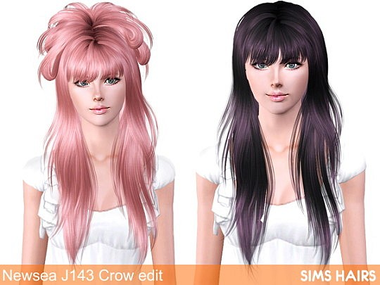 Newsea J143 Crow hairstyle edit by Sims Hairs