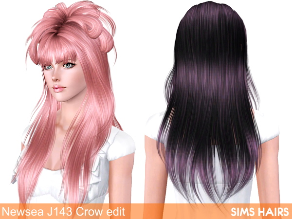 Newsea J143 Crow hairstyle edit by Sims Hairs for Sims 3