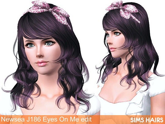 Newsea's J186 Eyes On Me hairstyle retexture by Sims Hairs