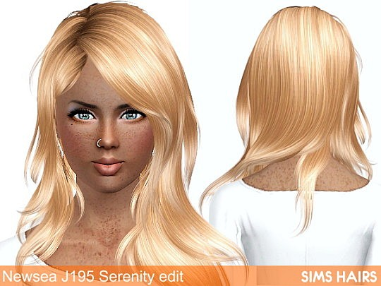 Newsea's J195 Serenity hairstyle retexture by Sims Hairs