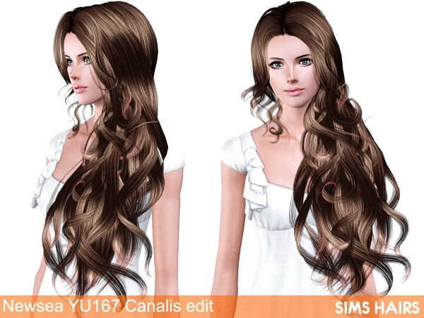 Newsea's YU167 Canalis hairstyle AF retexture by Sims Hairs for Sims 3