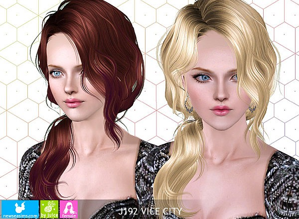 J192 Vice City Wavy side ponytail hairstyle by NewSea for Sims 3