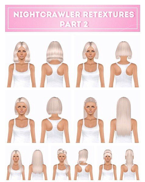 Nightcrawler hairstyles part 2 retextured by Plumblobstumblr for Sims 3