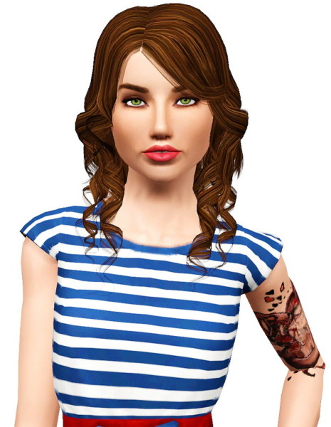 Elexis Sweetly Broken hairstyle retextured by Pocket for Sims 3