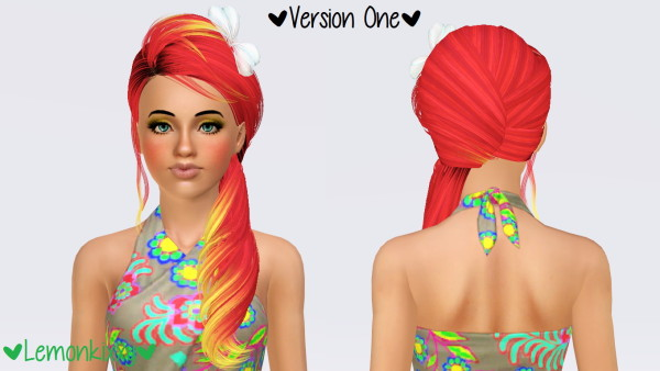 Skysims 226 hairstyle retextured by Lemonkixxy for Sims 3