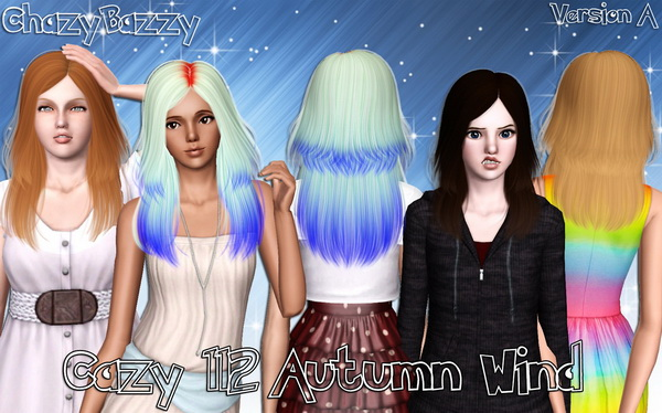 Cazy`s Autumn Wind hairstyle retextured by Chazy Bazzy for Sims 3