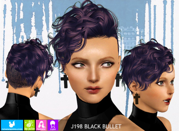 J198 Black Bullet Curly Side Hairstyle By Newsea Sims 3 Hairs
