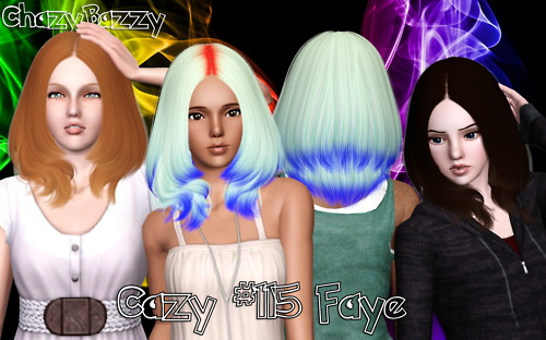 Cazy`s 115 Faye hairstyle retextured by Chazzy Bazzy for Sims 3