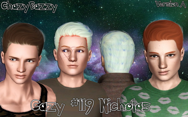 Cazy 119 Nicholas hairstyle retextured by Chazy Bazzy for Sims 3