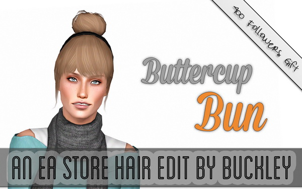 Buttercup bun hairstyle retextured by Buckley for Sims 3