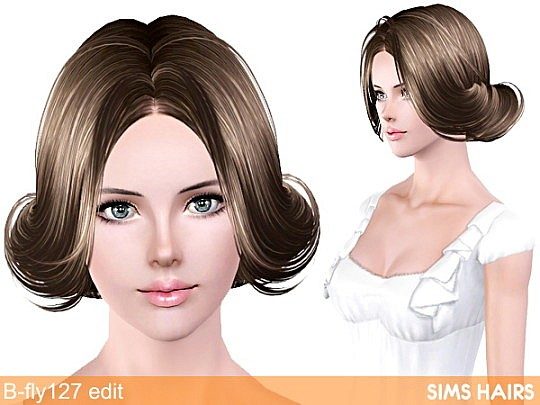 B-fly's 127 hairstyle retextured by Sims Hairs