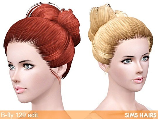 Butterfly's 129 hairstyle retextured by Sims Hairs