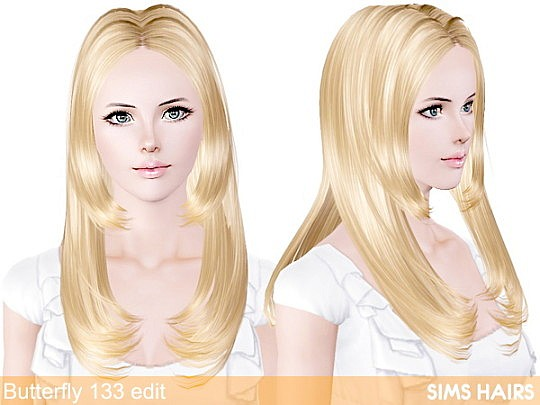 Butterfly's 133 hairstyle retextured by Sims Hairs