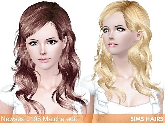 Newsea's J196 Matcha hairstyle retextured by Sims Hairs