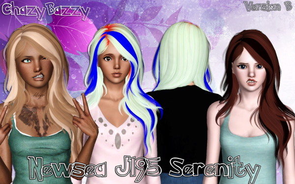 Newsea`s J195 Serenity hairstyle retextured by Chazy Bazzy for Sims 3