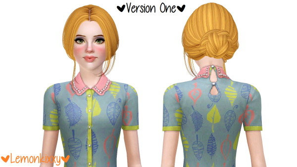 BEO Skysims 083 and 143 hairstyle retextured by Lemonkixxy for Sims 3