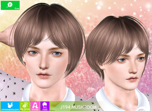 J194 Mushroom bob with thin bangs hairstyle by Newsea for Sims 3